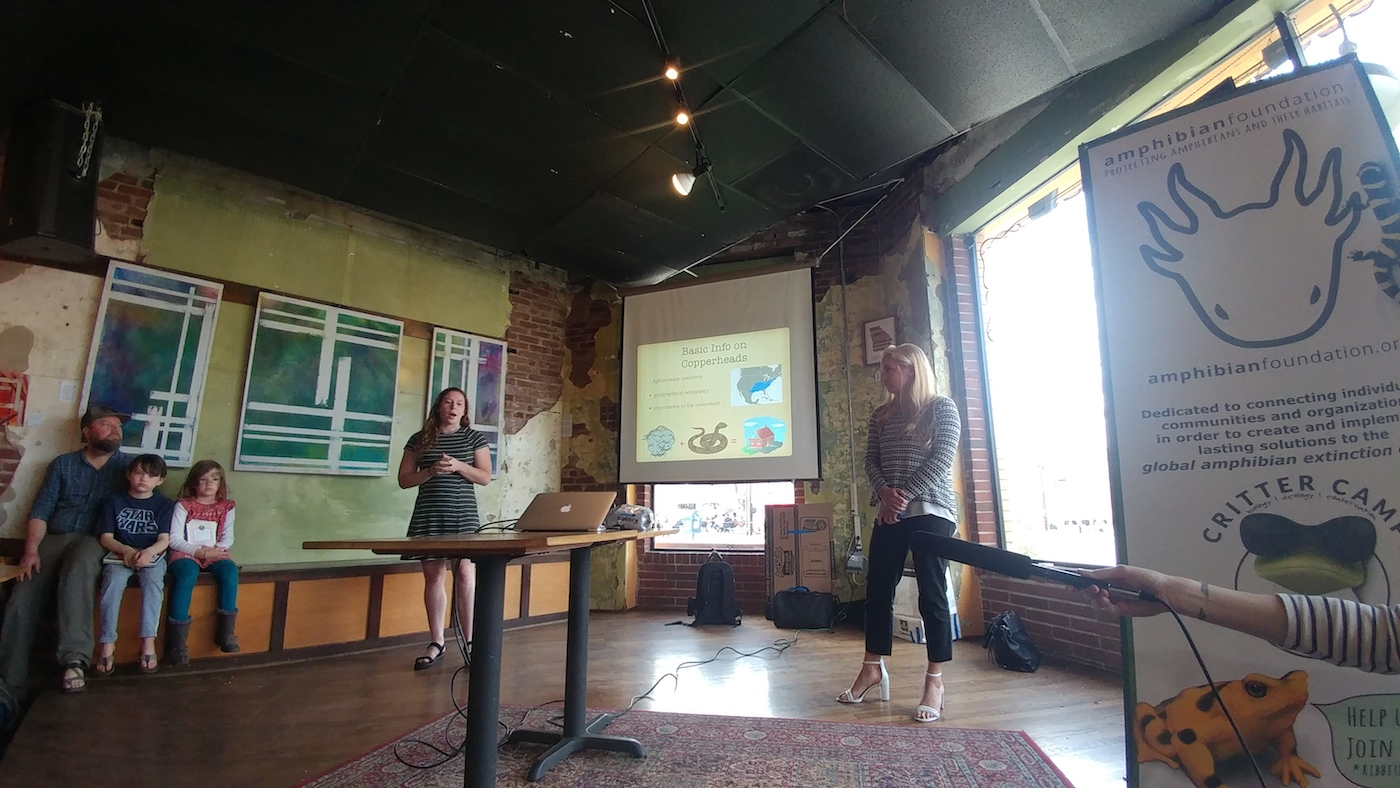 Natalie and Erica, Amphibian Foundation Interns presenting on their Copperhead research
